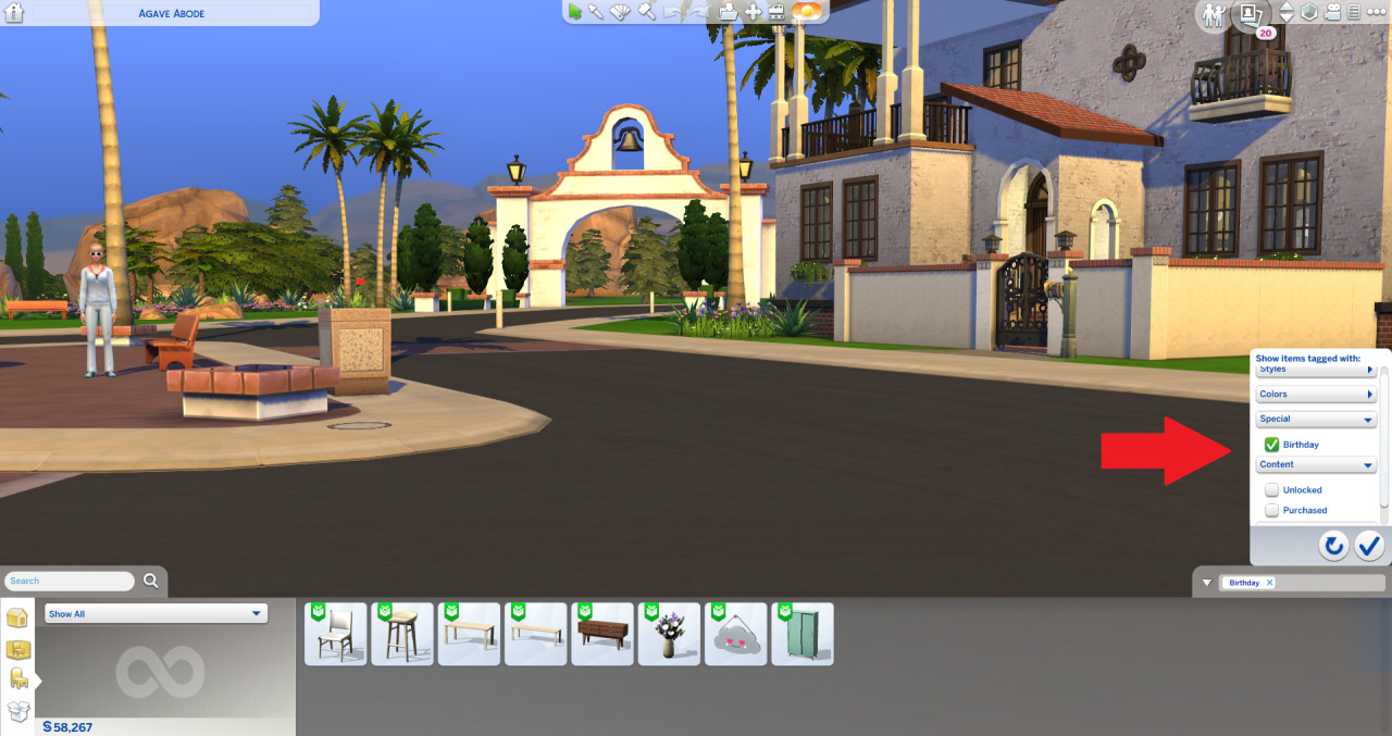 """The Sims 4: Latest Game Patch Adds """"Birthday"""" Filter to Build/Buy/CAS   Sims 4 Game Patch has added a new filter to the game that allows players to sort content based on the """"Birthday"""" tag. Today's game patch added 21 new items to Create-a-Sim and Build/Buy Mode. To easily find them, use the content filters, find the new """"Special"""" filter, and select the """"Birthday"""" tag.    Categories without this tag will not have the new """"Special"""" filter. Hovering over the new items will reveal the creators of the item. #new #the sims 4 #ts4#sims 4"""