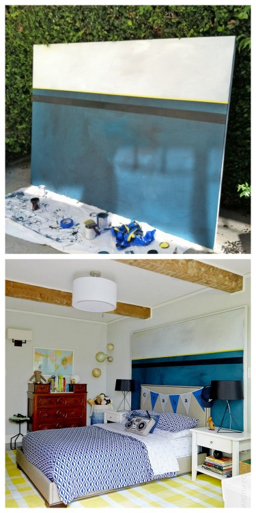 DIY Cheap Giant Canvas Painting or Headboard Tutorial from Emily Henderson here. There is a good link for how stretch canvas over stretcher bars. They are gong to post the pine DIY frame soon.