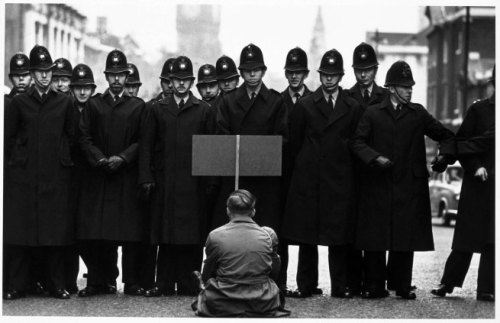 Protester, Cuban missile crisis, Whitehall, London by Don McCullin  1962