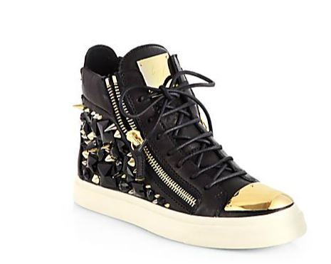 billidollarbaby:  Giuseppe Zanotti Gem Studded Leather High-Top Sneakers ($1,750) Rocker-chic leather sneaker jazzed up with metal studs, glimmering rhinestones, and a metal cap toe for added style.