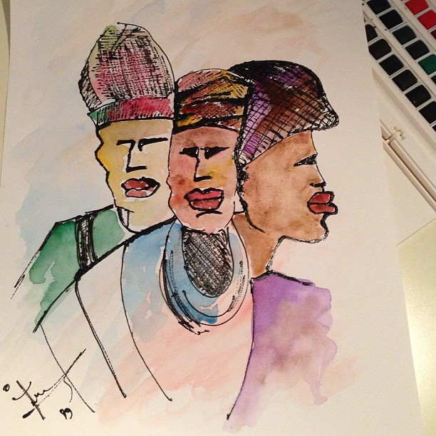 #meem #maithaAlKaabi #myArt #african #people #waterColor #2013 #painting #ART  (at ريشة ميم🎨)