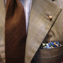Lightweight raw silk tie, cotton silk square, and linen shirt all by Drake's