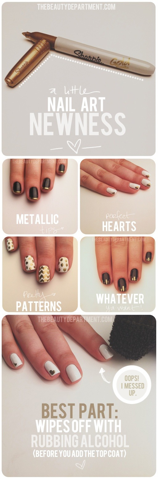 skin-beauty-fashion:  DIY - Sharpie nail art.