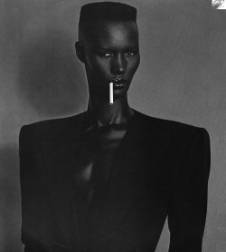 hannahmarshallworld:  GRACE JONES  THERE IS NO ONE LIKE GRACE JONES, SHE IS A TRUE IMAGE MAKER THAT HAS CREATED COUNTLESS ICONIC VISUALS. THE FIRST IMAGE I EVER CAME ACROSS WAS THIS COVER OF HER 'NIGHTCLUBBING' ALBUM FROM 1981, WHICH IS A PAINTING BASED ON AN IMAGE TAKEN BY JEAN PAUL GOUDE. I LOVE HOW MEMORABLE THE IMAGE IS; THE PERFECT MIX OF SENSUAL ANDROGYNY, OF WHICH SHE IS THE EPITOME OF. GRACE JONES IS A STRONG FORCE THAT SEEMS UNTOUCHABLE. NO ONE CAN DO POWER DRESSING LIKE HER, SHE IS THE ORIGINATOR. HER SLEEK LOOK WITH STRONG, SHARP SHOULDERS, BECAME A SIGNATURE OF MY BRAND FROM THE BEGINNING. THERE IS AN UNDENIABLE TRANSFORMATIVE POWER WHEN YOU WEAR A JACKET WITH SHOULDER PADS, IT CAN THE ABILITY TO GIVE YOU CONFIDENCE BY CHANGING YOUR SHAPE AND GIVING YOU THE FEELING OF AUTHORITY. THE ICONIC IMAGERY OF GRACE JONES CREATED BY ART DIRECTOR JEAN PAUL GOUDE, PARTICULARLY INSPIRED MY 'ARMY OF ME' COLLECTION, WHERE I EXPLORED THE REALMS OF BODY MODIFICATION. THEY ALWAYS SAY HOW YOU SHOULD NEVER MEET YOUR ICONS, BUT I HAD THE OPPORTUNITY TO MEET GRACE JONES WHILST SHE WAS IN LONDON AND HAVE NEVER BEEN SO EXCITED AND PETRIFIED AT THE SAME TIME. AND ON SAYING GOODBYE, MY HANNAH MARTIN RING ACCIDENTALLY CLAWED INTO HER DELICATE LASER CUT GLOVES, WHICH WAS DEFINITELY MEMORABLE.