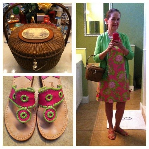 OOTN.  #lillypulitzer #soleil #jackrogers #lovemyjacks #jcrewlet #cardimania #pearls #nantucketbag #cartier #grosgrainponybow #seniorfashion #whatiwore #ootn #happyhour #pink #green