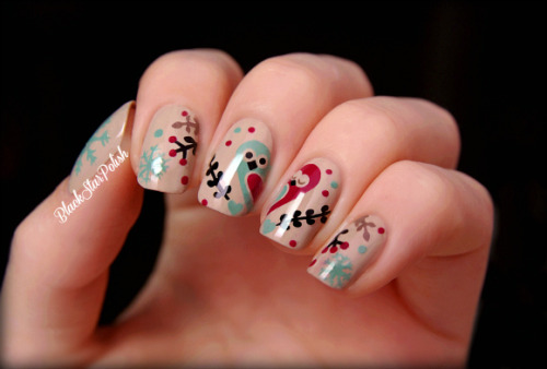 blackstarpolish:   It's my favorite time of the year for nail art designs so I decided to create a cute design with owls, berries and snowflakes :) inspired by this photo