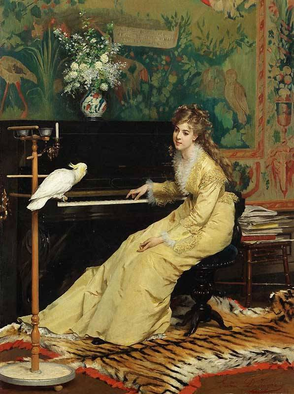 darksilenceinsuburbia:  Gustave-Leonard de Jonghe. Woman at a Piano with a Cockatoo.