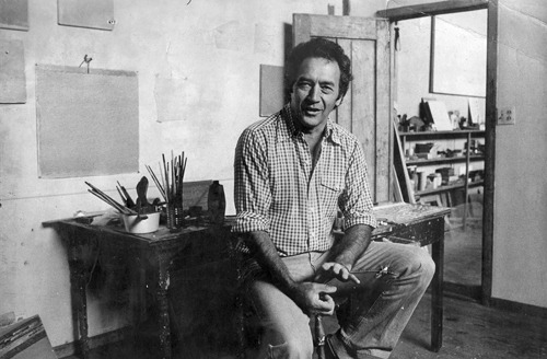 Warren Rohrer in his studio, early 70s