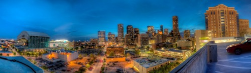 Night on the town   Here we have a panoramic photo of Down town Houston. It's roughly 180 degrees. Made up of 12 portrait HDR shots. To see it in all its glory click here: http://gigapan.com/gigapans/128389.  I got lucky that the Astros were playing that night, adds something to the scene I think. I had mad this trip to get some sunset shots with the Houston skyline but I didn't leave the house early enough.    Follow Highly Defined Reality on Facebook