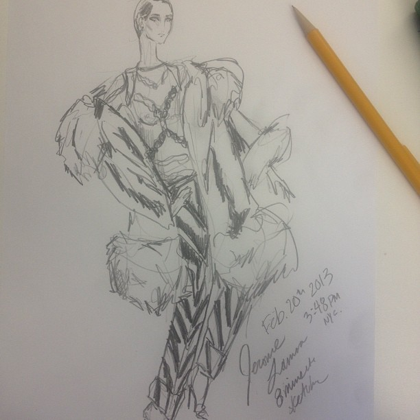 An 8minute pencil sketch of #tomford #fall2013 collection. With one pencil freehand.  (at Union Square (14 Street))
