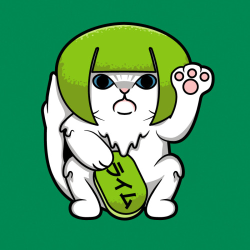 luckycatproject:  Maneki Raimu Limecat - Part of my LOLcat series. Shirts | Kid Sizes | Stickers | CasesArtist's Tumblr