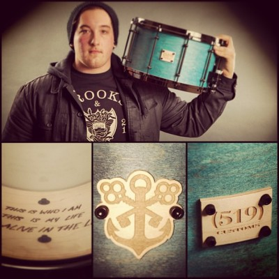 @519customs_jake absolutely killed this custom snare for our drummer!! #519custom #snare #drums #woodburning #hxc #detr #custom #anchor #519nation