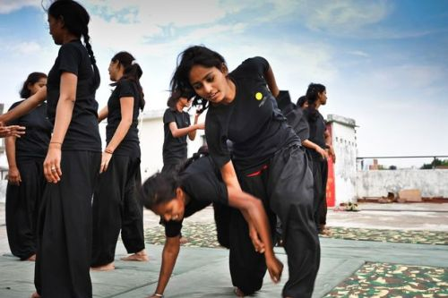 "searchingforknowledge: Fifteen rape victims have formed martial arts movement and are prepared to confront abusers if no one listens to their complaints…  A GROUP of women are fighting back against the sickening culture of rape which they say infects India. Fifteen determined females – all victims themselves – have trained in martial arts and are prepared to hand out rough justice if no one listens to their complaints. And the movement, called the Red Brigade, is growing rapidly following the gang rape and murder of medical student Jyoti Singh Pandey that horrified the world.  In a nation where a woman is reportedly raped every 20 minutes, the group's leader Usha Vishwakarma said: ""We are fighting back – and the boot is now on the other foot."" Member Sufia Hashmi, 17, said: ""We've caught a lot of men recently. I joined because men always used to pass comments on me and touch my body but now we beat them and they run.""  Like the other members in the northern city of Lucknow, 25-year-old Usha has first-hand experience of the daily dangers women face in the huge nation – a teacher tried to rape her when she was 18. She said: ""He grabbed me and tried to open my trousers. I kicked him in the crotch and ran."" Usha complained to staff but they told her to forget it and allowed her attacker to carry on teaching. She said: ""Many parents tell girls to quit school so there will be no sexual violence. But we said no – this has to stop. We decided to form a group to fight for ourselves, not just complain."" MORE  FUCK YEAH"