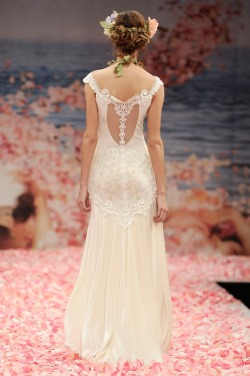 Spring 2013 | Thalia | Claire Pettibone | Ivory embroidered cameo bodice with guipure lace appliqués and silk velvet skirt