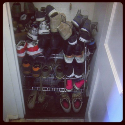 Four boys. One house. Literally a closet full of shoes….. Girls aren't the only ones. #shoes #boyswholikeshoes #mostofthemaremine?  (at Fort Knox)