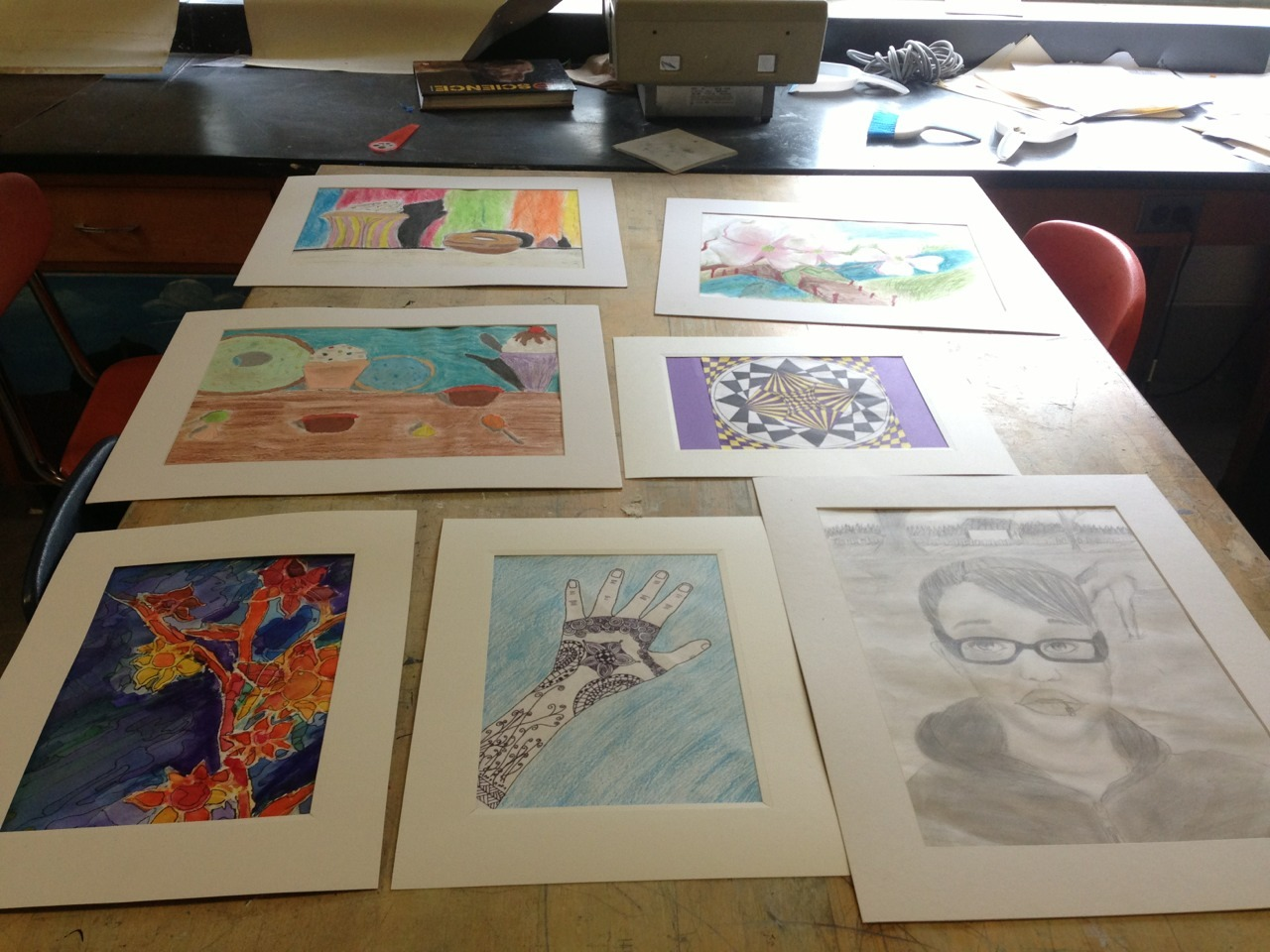 Started matting works today for the annual county art exhibition! Art instantly looks better matted. So excited!!!! These look so good, and only about half of my kids' pieces. :)  I'm so proud of my students!