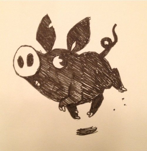 Black pigs are the cutest pigs.