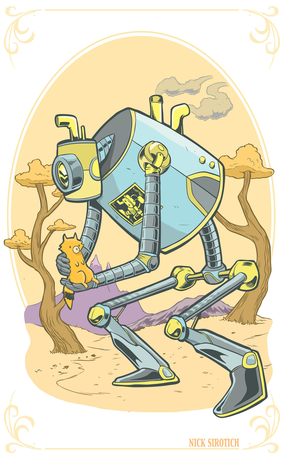 This mechanized monstrosity is the Fox-Bot. Designed to roam the forest outside the village creep finding sweet little foxes who've been abandoned and keep watch over their wellbeing. foxes roam wild amidst the forested creep borders and this beast is crucial to their well being and overall happiness.