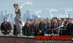 pagetopremiere:  Find out who's who in the 'Divergent' still, using PagetoPremiere's Initiate Identifier (x)