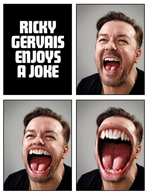 Ricky Gervais enjoys a joke.