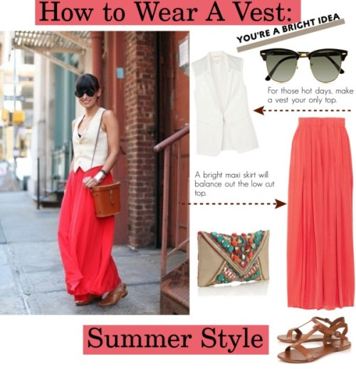 How to Wear A Vest by juana729 featuring a maxi skirt ❤ liked on PolyvoreRag & Bone  / Thakoon Addition maxi skirt / Leather sandals / Accessorize envelope clutch / Ray-Ban ray ban sunglasses