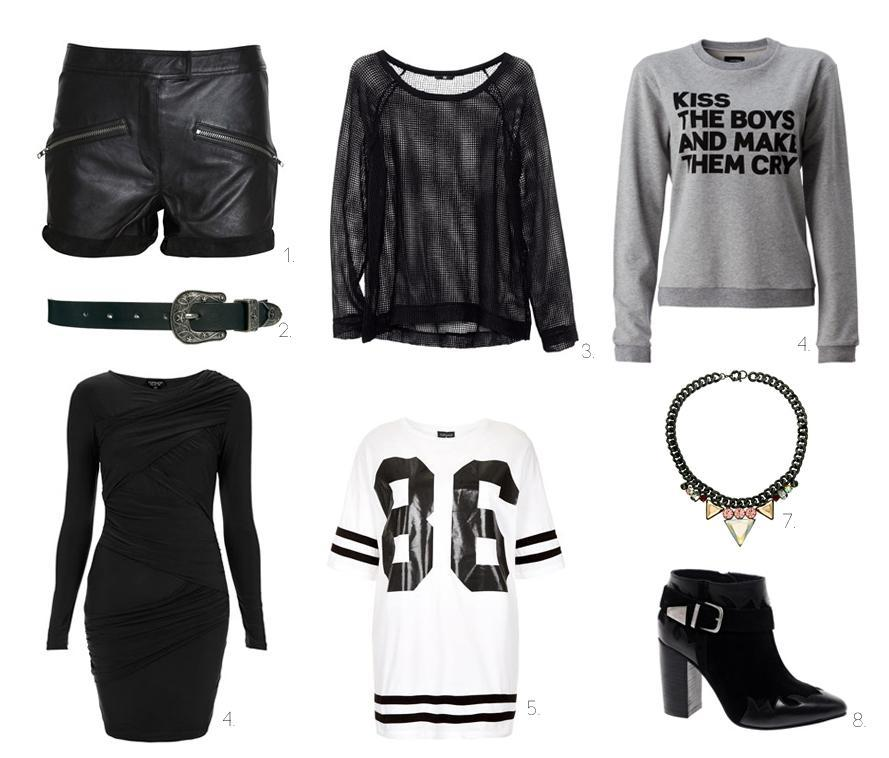 1. shorts/Blake, 2. belt/ASOS, 3. shirt/H&M, 4. A question of, 5. black dress/Topshop, 6. T-shirt/Topshop, 7. necklace/ASOS, 8. shoes/ASOS (image: passionsforfashion)
