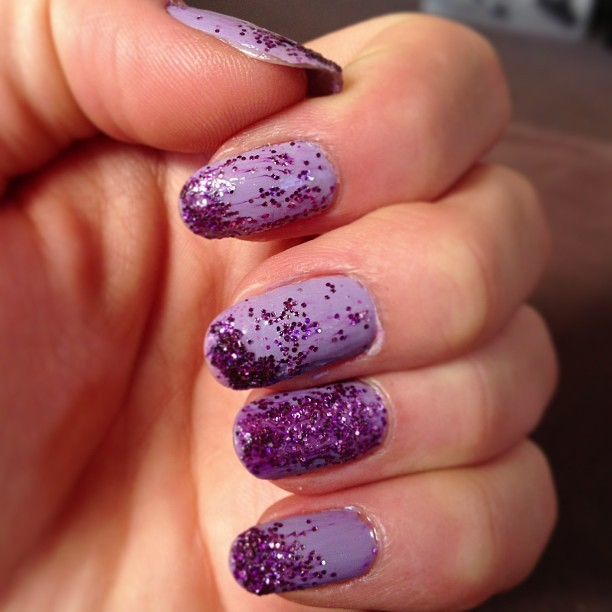 #nails #ruined #lol #purple #lilac #glitter #ew