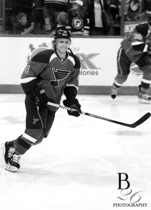b26photography:  Kris Russell during warm ups of Game 2 of the Stanley Cup Playoffs Blues vs Kings (5-8-13)