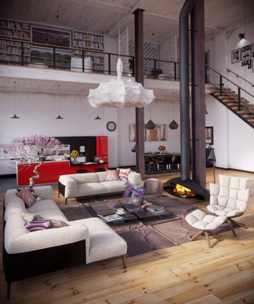 lorastoun:   Industrial Loft  Love the fireplace.
