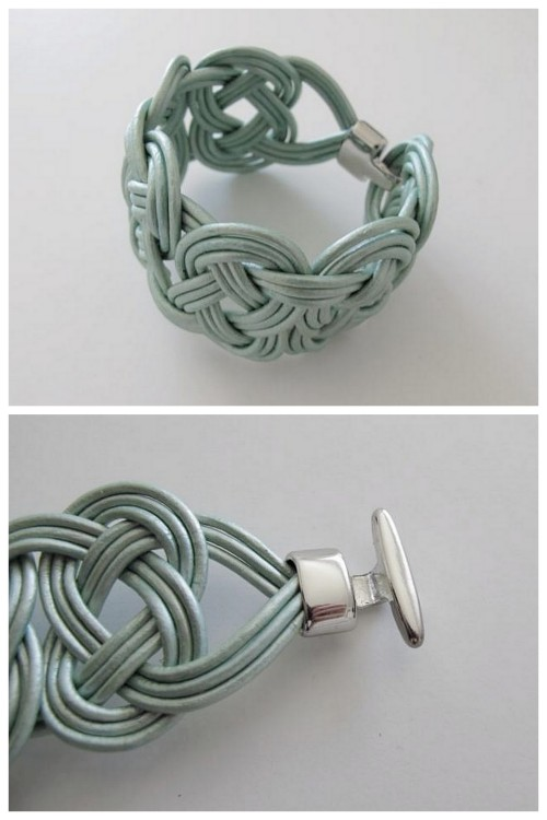 truebluemeandyou:  DIY Knotted Leather Bracelet Tutorial from Design and Form here. This is demonstrated using one cord. To get the three cord look above I've found it easier to tape the cords flat at intervals.