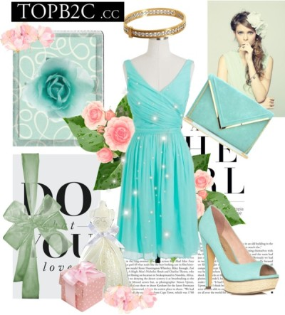 Untitled #6 by rinaaprilia featuring a bangle braceletJ.Crew draped dress / JustFabulous mint green shoes / Oversized clutch / Cathy Waterman bangle bracelet / Johnny Loves Rosie hair accessory / Pretty White Wedding Dress Bridal Candle / Sweet Polka Dot Set of 12 Favor Holders