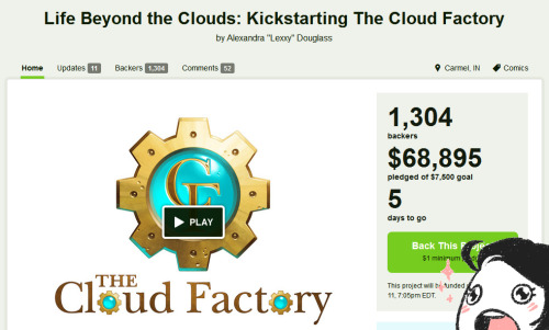 "cloudfactorycomics:  Well, folks, there's still five days left in the campaign and I can't thank you all enough for propelling it this far! As of writing this post, the project is a whopping 919% funded, and we're creeping up on the 9th stretch goal, which adds a new 1"" button to all tiers $35 and up at 70k! The design will be unveiled when the goal is met, but something tells me we won't have to wait very long. For those of you who haven't been staring lovingly at the campaign page nearly every waking hour of the day, here's a summary of everything we've accomplished so far: Three bonus comic pages have been added to the book and the online launch, for a total of seven pages for everyone to read as soon as TCF starts! The book has been expanded from 32 pages to 36. A 1"" Kickstarter-exclusive pin and a bookmark have been added to all tiers of $25 and up. A sticker sheet and an additional two 5 x 7 prints have been added to all tiers of $35 and up. An antiqued brass and enamel luna bee pin has been added to all tiers of $45 and up. Give yourselves a pat on the back, guys, because this is incredible. Way beyond what I dreamed of achieving in this campaign! Seriously, I think I may have had five or six stretch goals planned initially and had to expand it to TWELVE because they were being met so quickly. I'll be able to make The Cloud Factory the best it can be, and it's all because of you. Thank you. — Click here to learn more about Kickstarting The Cloud Factory."