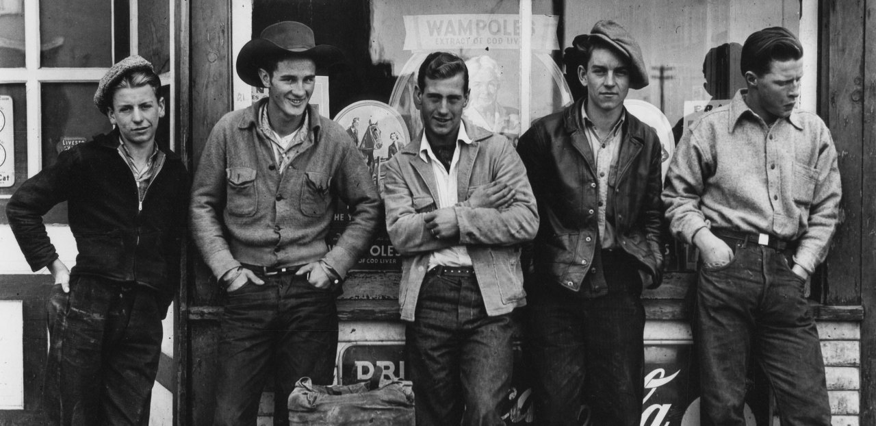 Gordon Parks - Drugstore Cowboys, Turner Valley, Canada, 1945 via Art Blart