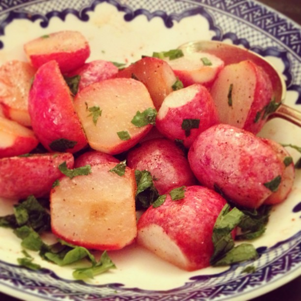 Roasted radishes w/ radish greens. <3 roasted veggies so much!