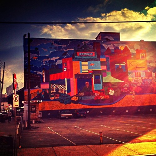 Sunset mural in The Strip ……. #iphone #photo #sunset #skyporn #colorful #cityscape #mural #art #building #clouds #spring #city #pittsburgh #stripdisrict #pa #penn #pennsylvania #us #usa #america