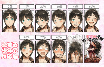 Reaction of boy who is in love  Heh, that last one. XD
