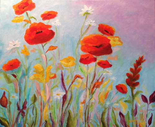 Field of Poppies            20 x 24        Oil on Canvas  It's an old quote, but I do love red poppies!