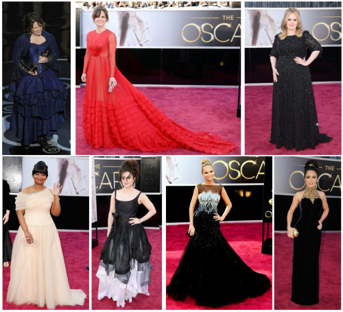"My picks for ""Most Modest at the Oscars in 2013"" are:1. Brenda Chapman2. Sally Field3. Adele4. Octavia Spencer (my favorite outfit of the bunch)5. Helena Bonham-Carter6. Kristin Chenoweth7. Selma Hayek…I think I had more on the list last year. That's how immodest the Oscars were this year …"