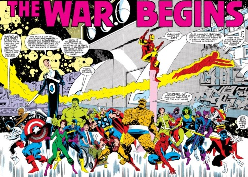 brianmichaelbendis:  Double-page splash from Secret Wars #1, art by Mike Zeck and John Beatty.