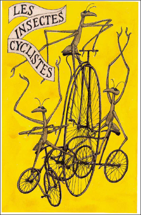 "Les Insectes Cyclistes, from ""The Broken Spike"" by Edward Gorey 