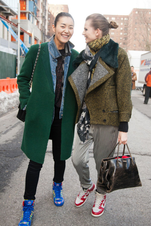 modelsdot:  Of the Minute : On the Street / FW 13 Liu Wen and Bette Franke  Click above to see my story for models.com