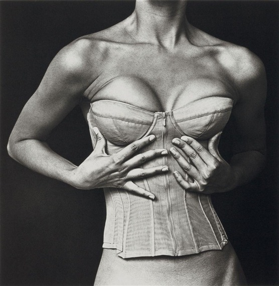 suicideblonde:  Corset by Karl Lagerfeld for Chanel photographed by Irving Penn in 1994