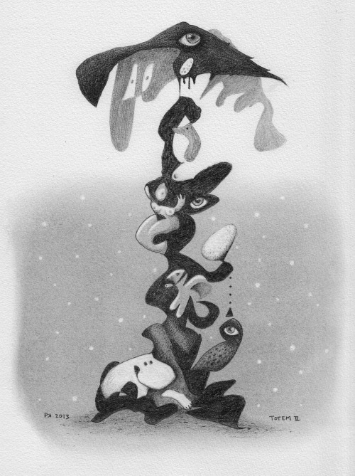 """Totem II"" Graphite on A4 paper."