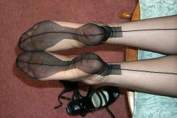 stockingclub:  Stocking covered feet.