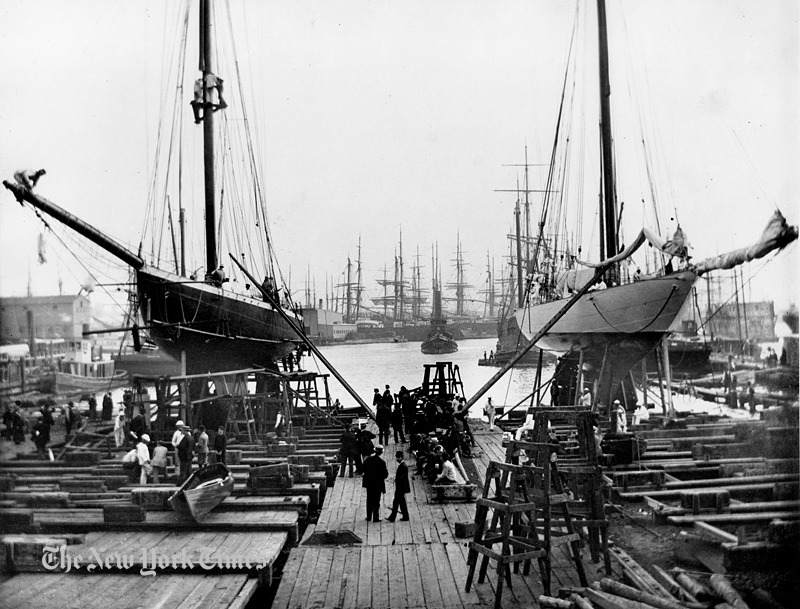 "sailorgil:  "" America's Cup Yachts At Erie Basin Drydock — 1893 ""  …  Sloop Jubilee [Left] and Cutter Colonia [Right] … Photo: Mystic Seaport, Rosenfeld Collection"