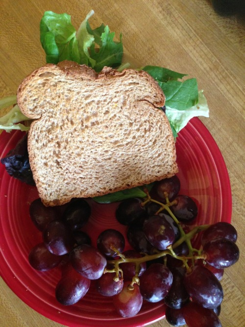 Lunch! Whole what bread, mustard, tofurky, cheese, lettuce and grapes! 6 WW points
