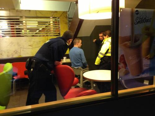 This is a drunk guy in a McDonalds in town stuck in a baby chair