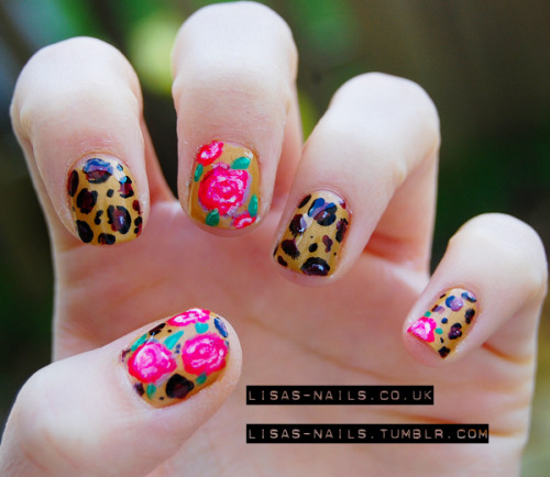 Roses and leopard  More photos and info at http://lisas-nailss.blogspot.co.uk/