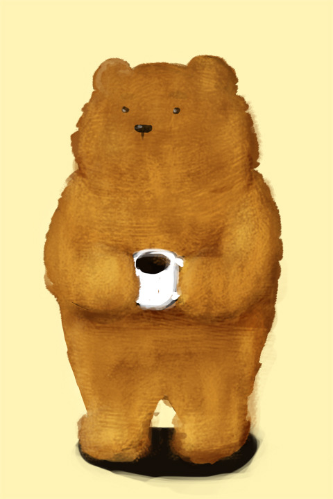 Bear and The Coffee~(Or what I like to draw at 3 a.m.)