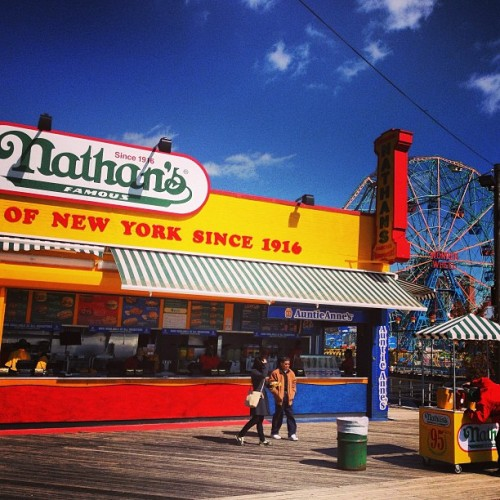 coneyrecovers:  Signs of spring: Nathan's has reopened on boardwalk and cars are back on the Wheel. #coneyrecovers